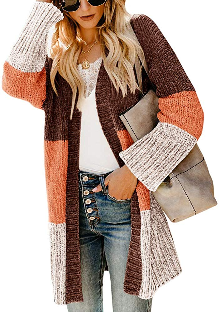 Women Color Block Cardigan Open Front Long Sleeve Sweaters Chenille Chunky Loose Baggy Oversized Knit