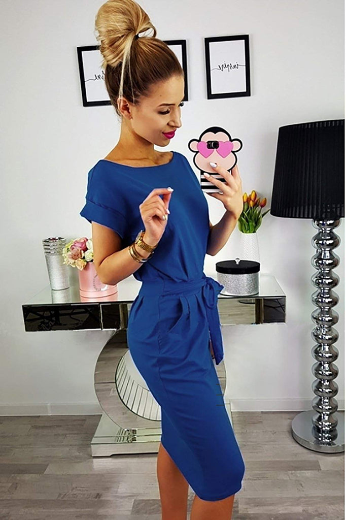 Women's 2019 Casual Short Sleeve Party Bodycon Sheath Belted Dress with Pockets