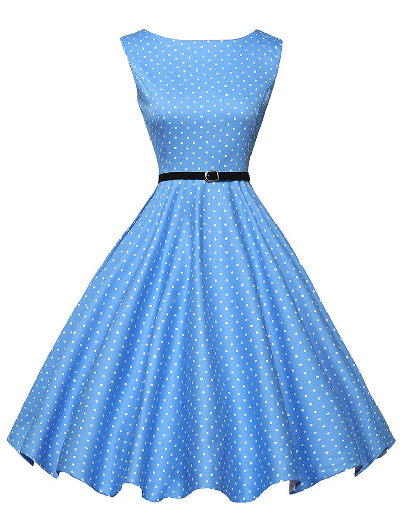 50s Style Vintage Dress Boatneck Sleeveless Vintage Tea Dress with Belt