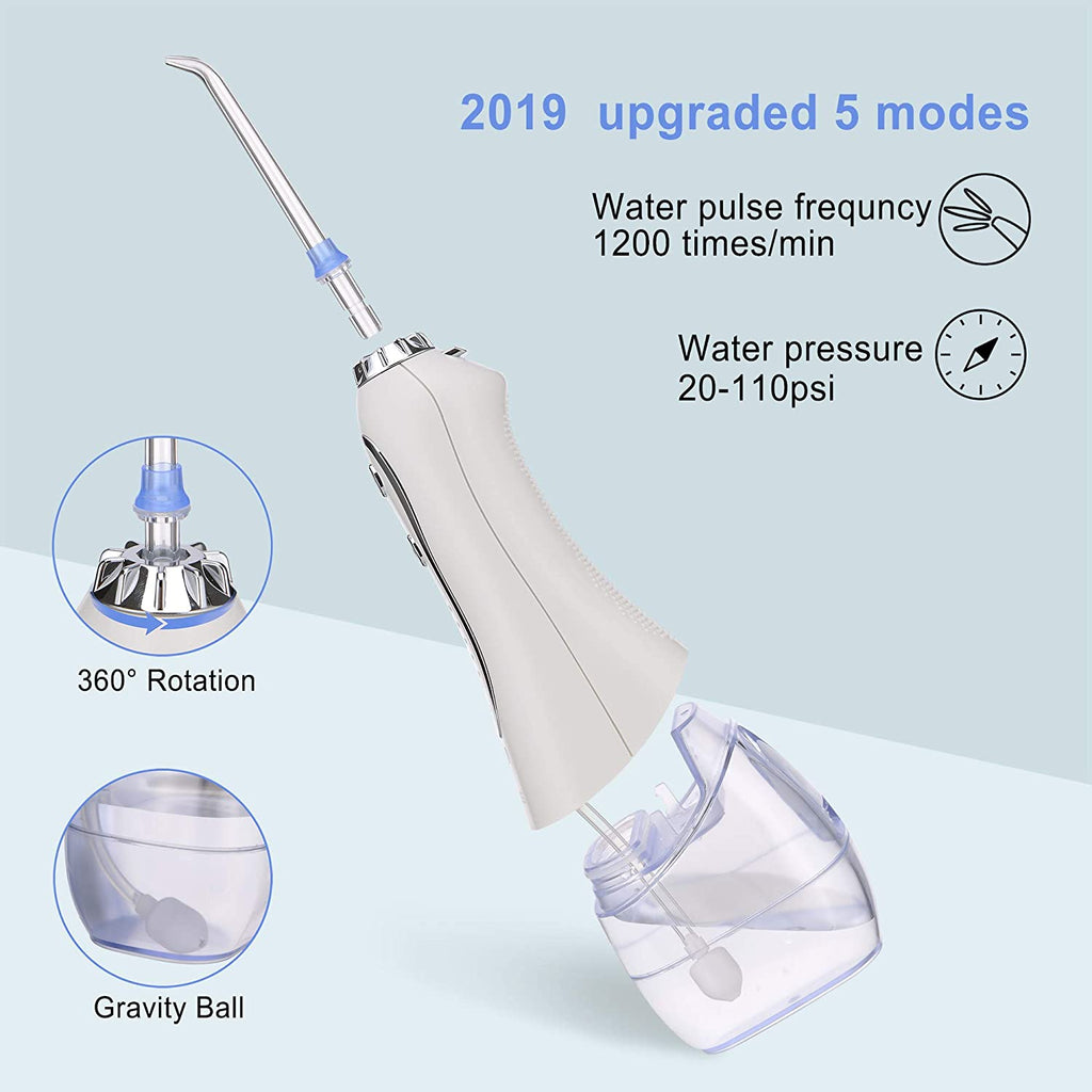 Water Flosser Portable Dental Oral Irrigator with 5 Modes, 6 Replaceable Jet Tips, Rechargeable Waterproof Teeth Cleaner for Home and Travel