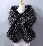Women's Faux Fur Shawl Wraps Cloak Coat Sweater Cape for Evening Party