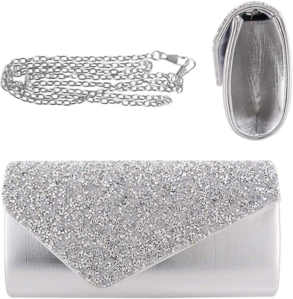 Flap Dazzling Small Clutch Bag Evening Bag With Detachable Chain