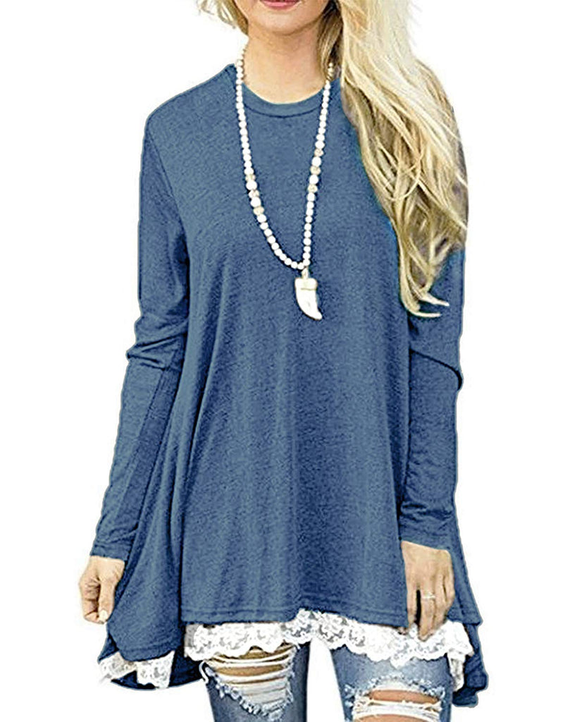 Top Blouses Women's Lace Long Sleeve Tops Casual Round Neck Top Blouses