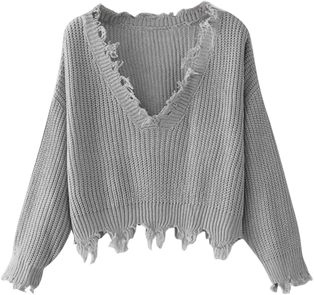 Women's Loose Long Sleeve V-Neck Ripped Pullover Knit Sweater Crop Top