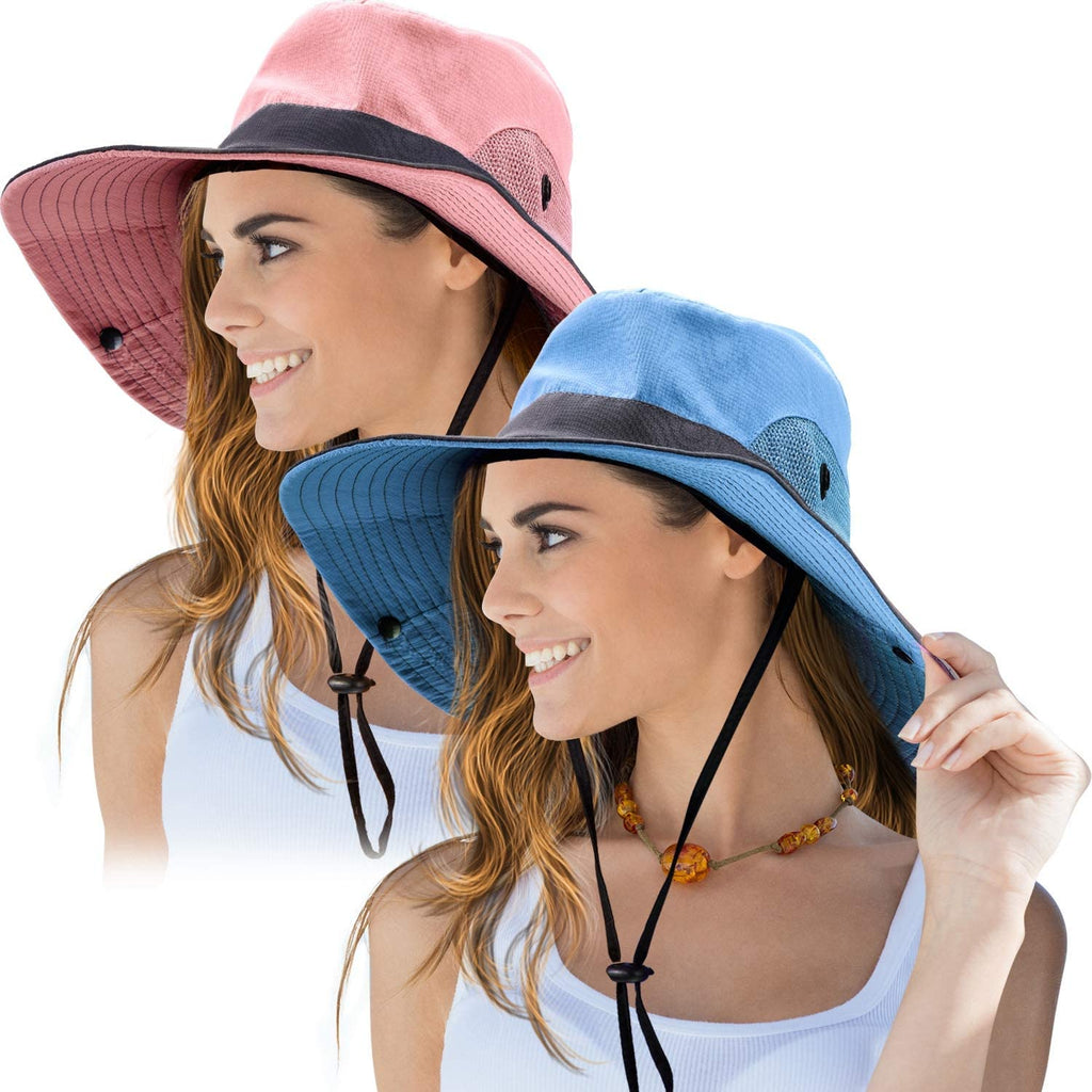 2 Pieces Women's Outdoor Sun Hat UV Protection Foldable Mesh Wide Brim Beach Fishing Cap