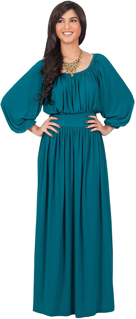 Womens Sleeve Vintage Peasant Empire Waist Pleated Fall