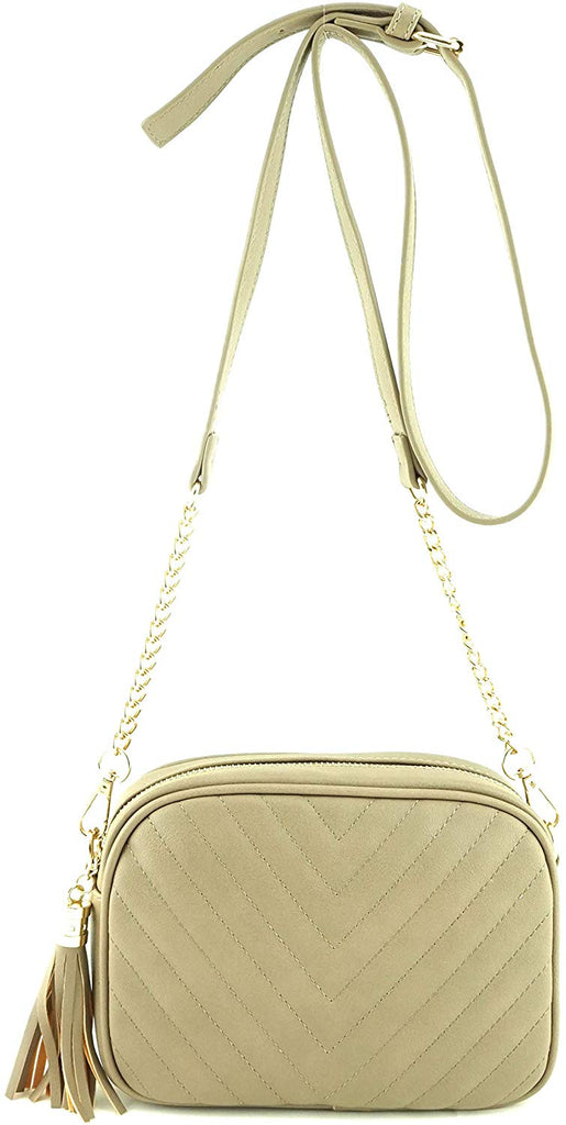 Metal Chain Strap And Tassel Top Zipper Simple Shoulder Crossbody Bag
