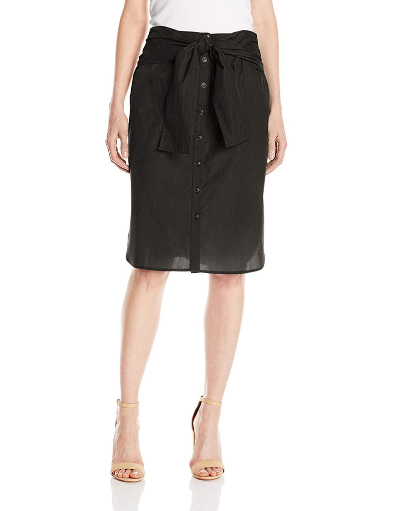 Women's Tie-Front Skirt Straight skirt with athletic notched high/low hem.