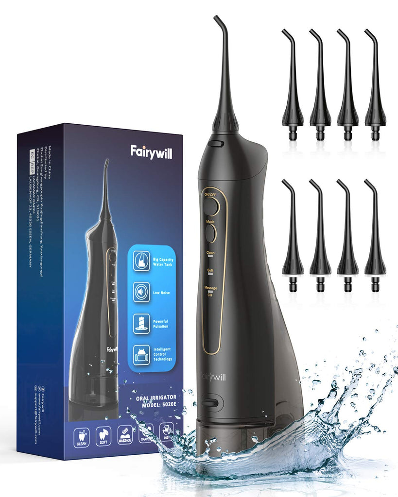 Water Flossers for Teeth, 300ML Cordless Dental Oral Irrigator, 3 Modes and 8 Jet Tips, IPX7 Waterproof, USB Charged for 21-Days Use