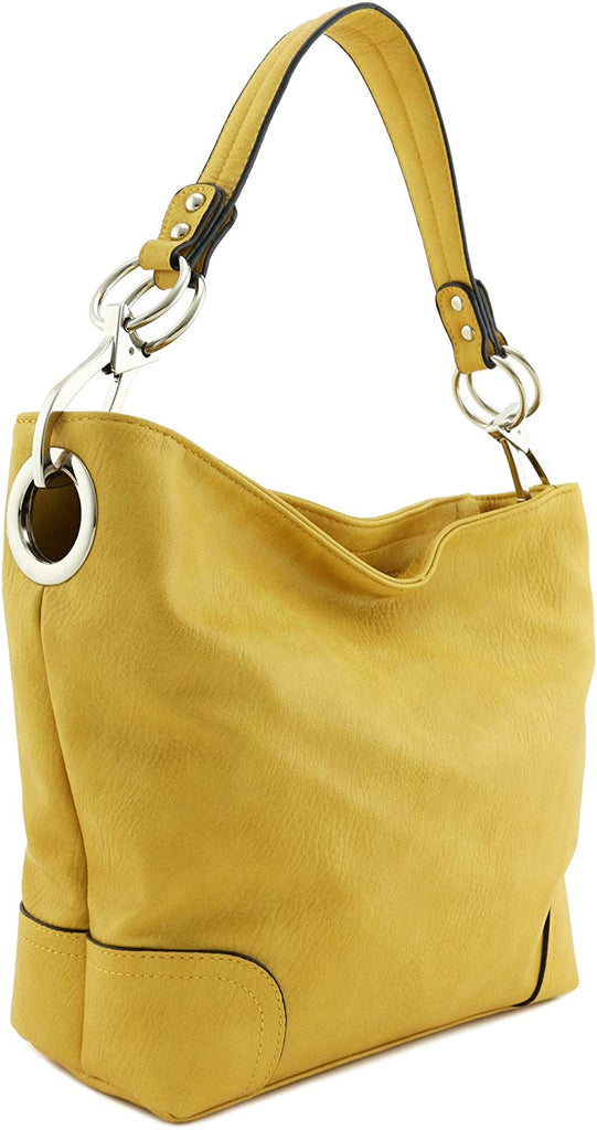 Womens Faux leathe Shoulder Bag with Big Snap Hook Hardware