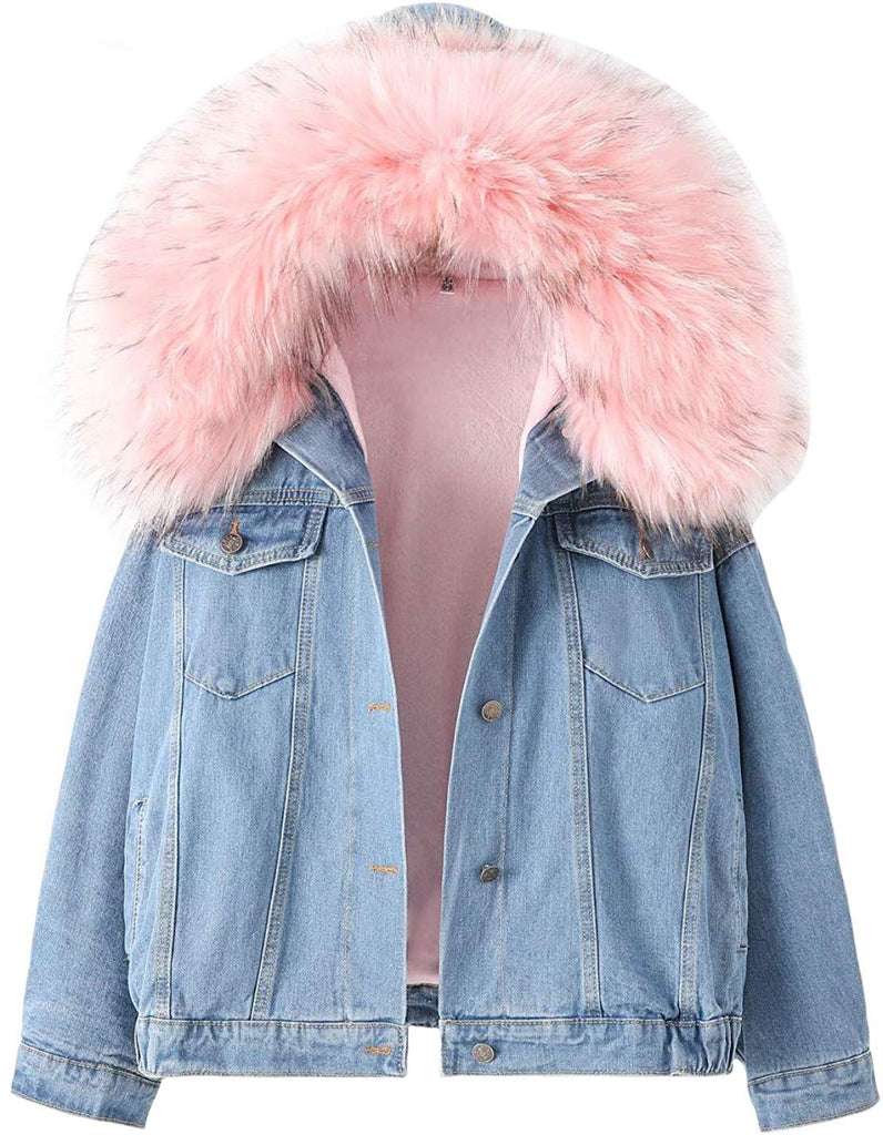 Women's Sherpa Fleece Lined Denim Jacket with Furry Fur Trim Hood