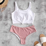 Women's Swimsuit  High Waisted Bikini Scoop Neck Swimsuit Two Pieces Bathing Suit