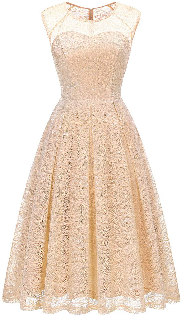 Women's Vintage Floral Lace Sleeveless Bridesmaid Dress Formal Cocktail Party Swing Dress