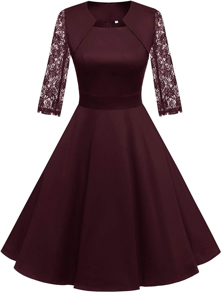 1950s Retro Vintage A-Line Cap Sleeve Cocktail Swing Party Dress for women
