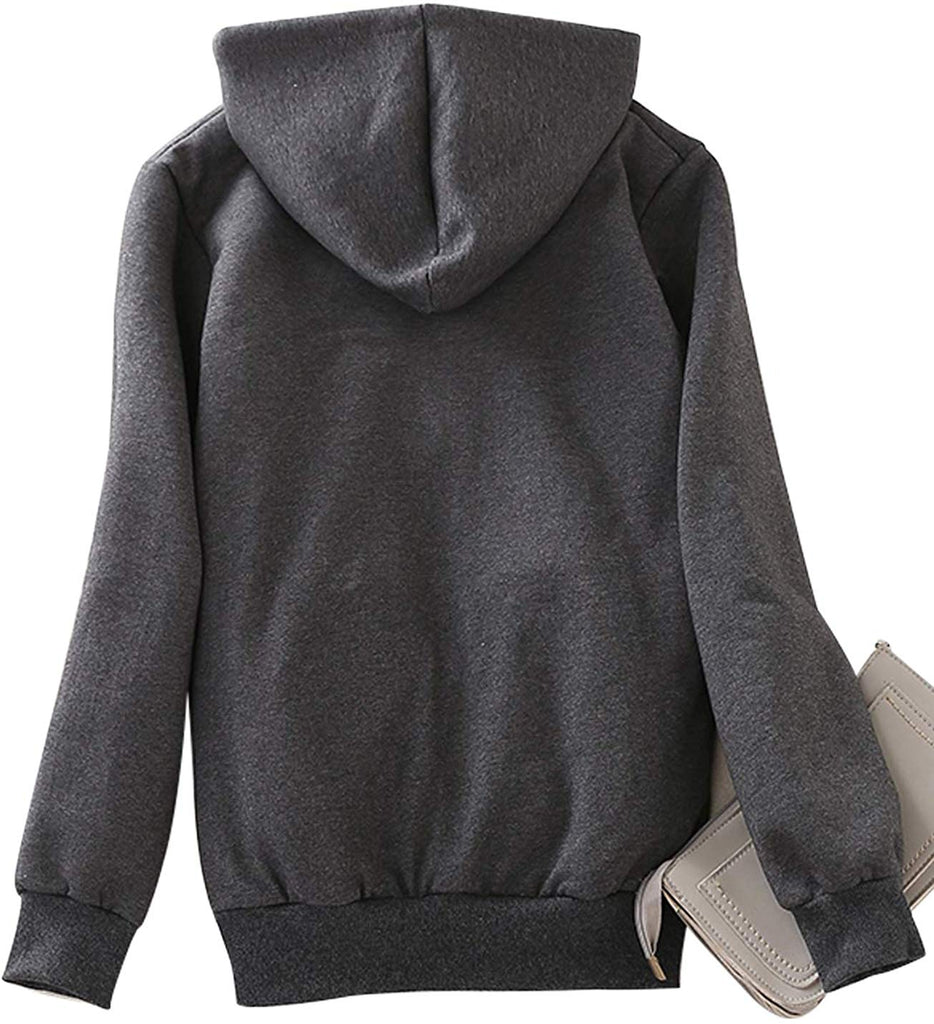 Women's Casual Winter Warm Sherpa Lined Zip Up Hooded Sweatshirt Jacket Coat