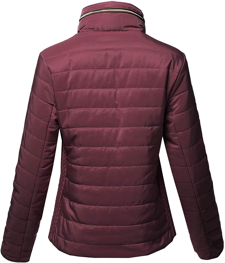 Women's Casual Basic Faux Fur Lining Quilted Padding Jacket HAND WASH