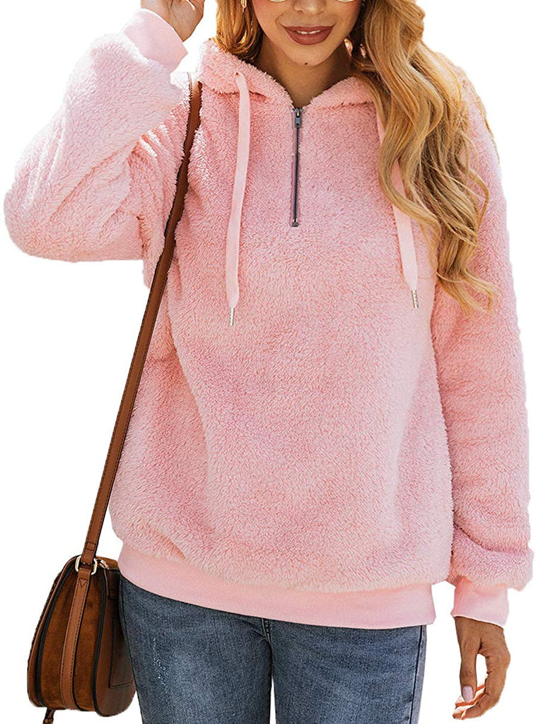 Women's Winter Fuzzy Fleece Coat Oversized Hooded Pullover Sweatshirt Outwear with Pockets