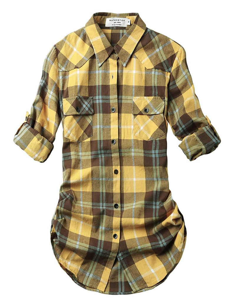 Women's Long Sleeve Flannel Plaid Shirt Slim fit, button up long sleeves