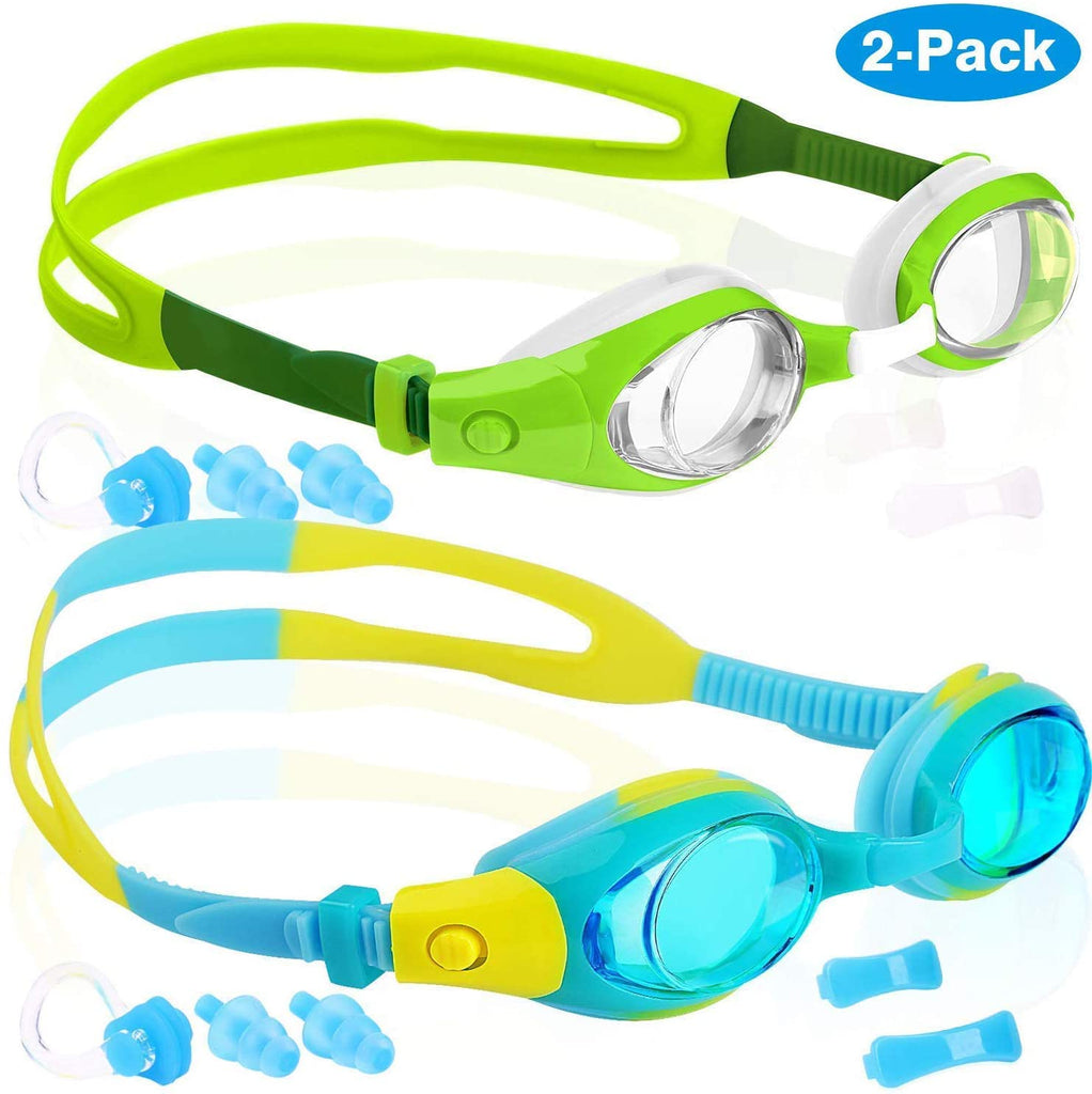 Kids Swim Goggles, Pack of 2, Swimming Glasses for Children and Early Teens from 3 to 15 Years Old, Clear Vision, Anti-Fog