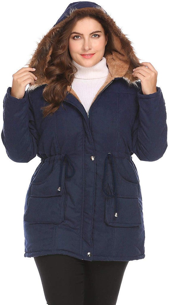 Womens Plus Size Military Hooded Warm Winter Faux Fur Lined Parkas Anroaks Long Coats