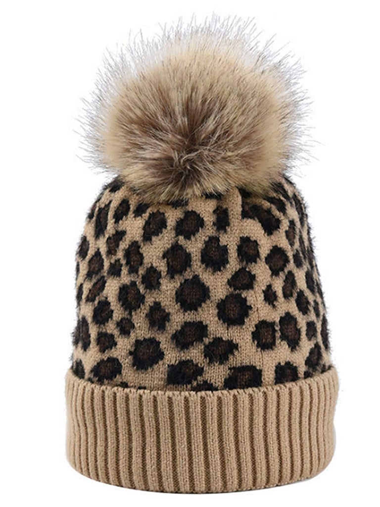 Women Winter Kintted Beanie Hats with Real Fox Fur Pom Pom