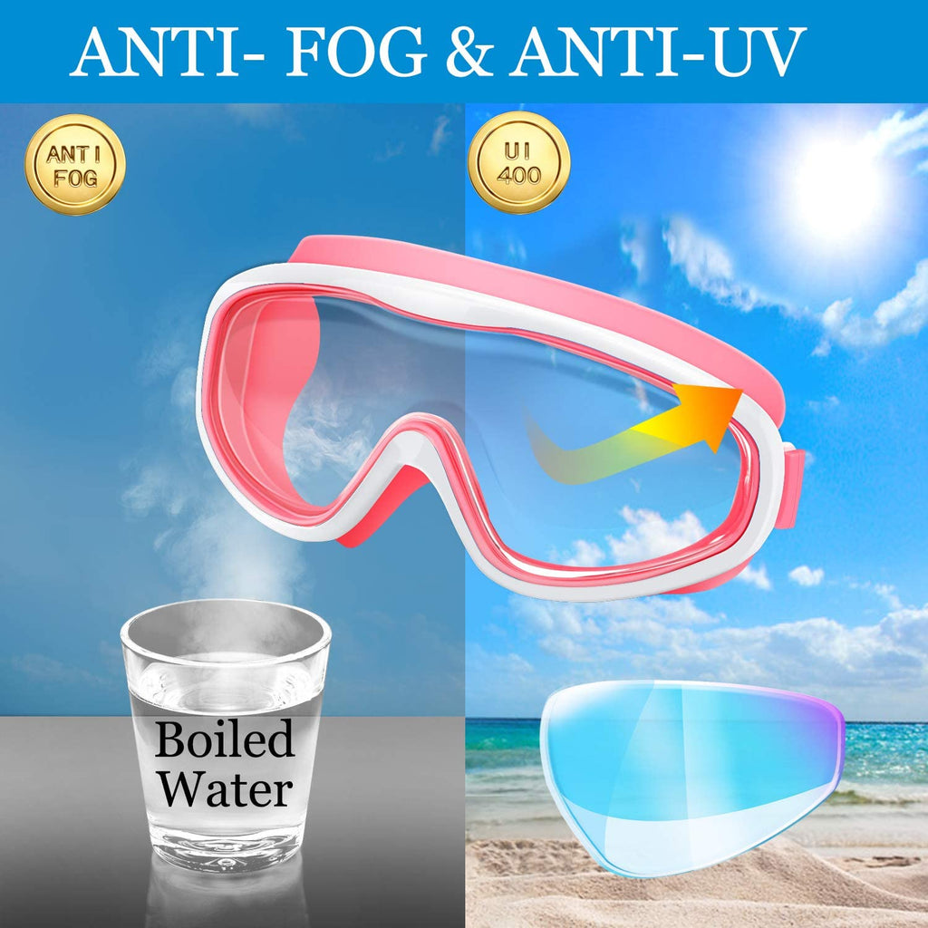 Kids Swim Goggles, Pack of 2 No Leaking Swimming Goggles Anti-Fog UV Protection Crystal Clear Wide Vision Swim Glasses