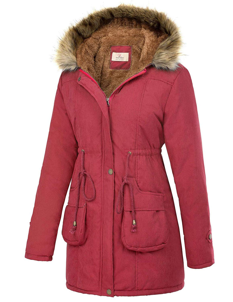 Womens Hooded Warm Winter Thicken Fleece Lined Parkas Long Coats