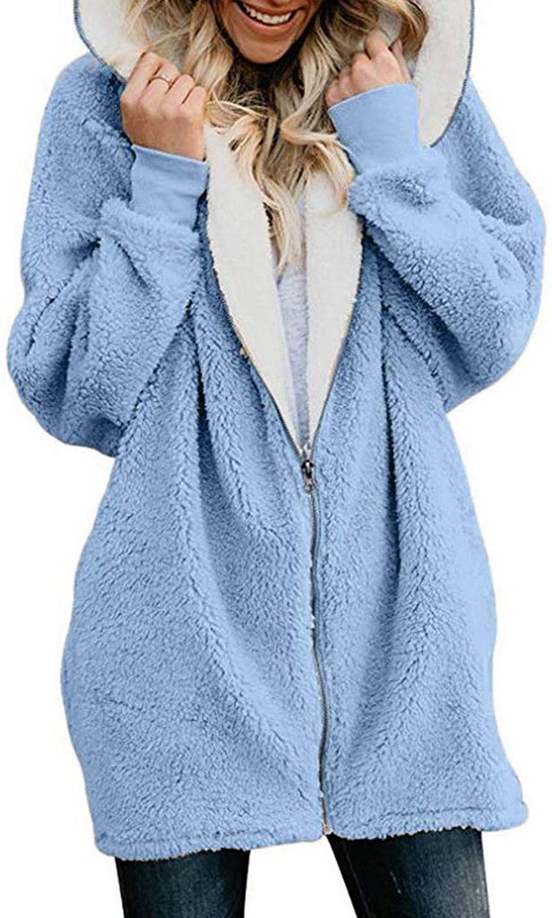 Womens Cardigan Jacket Coat Zippers Solid Warm Fleece Faux Fur Oversized Hoodie Outwear with Pockets