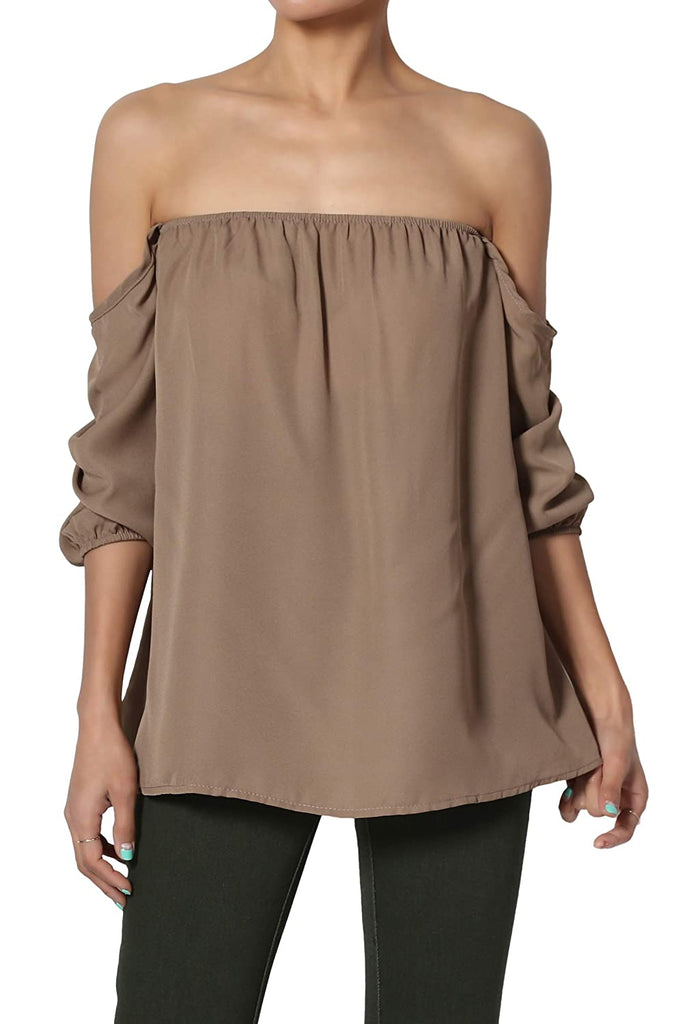 S~3X Off The Shoulder Chiffon Blouse Boho Bishop Long Sleeve Flowy Top