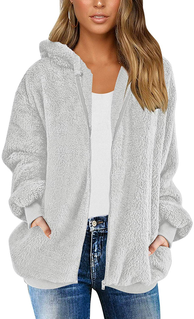 Women Casual Fuzzy Fleece Hooded Cardigan Pocket Faux Fur Outerwear Coat