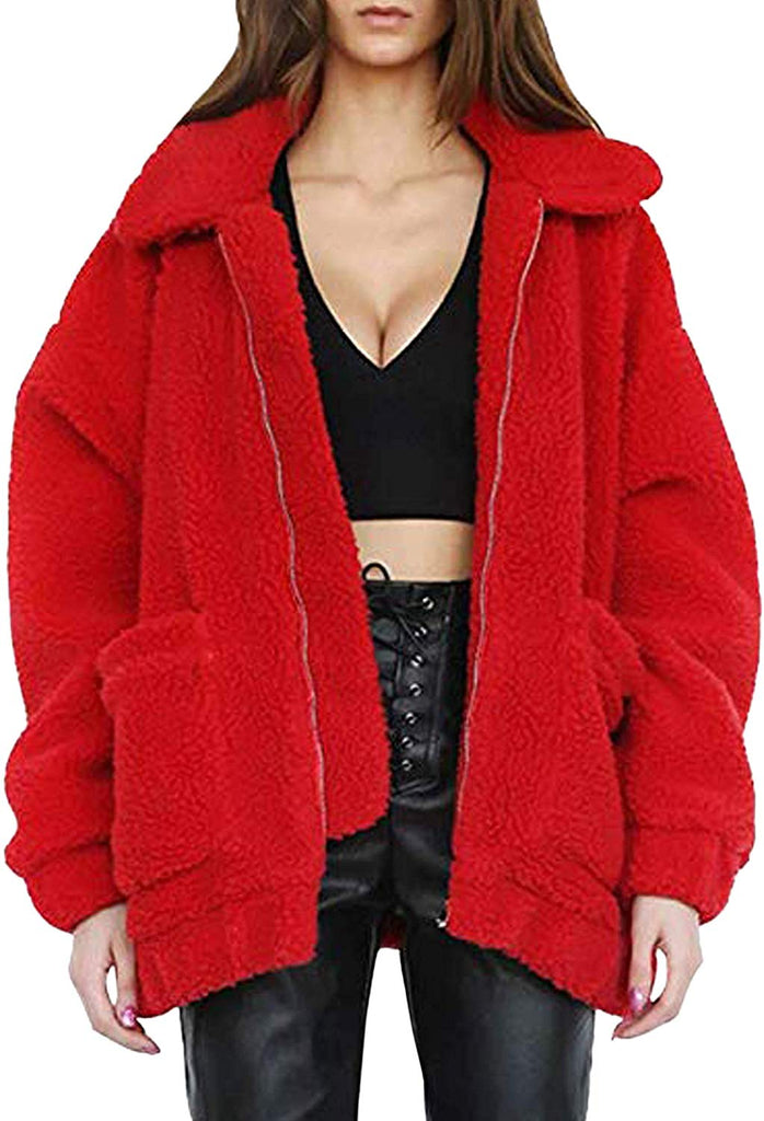 Women's Coat Casual Lapel Fleece Fuzzy Faux Shearling Zipper Warm Winter Oversized Outerwear