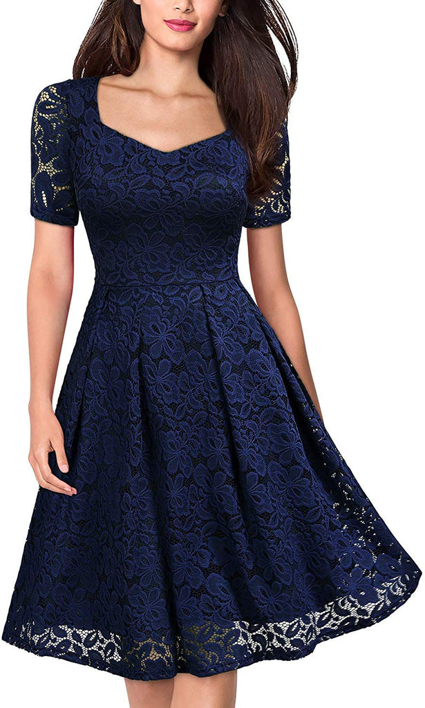 Women's Vintage Floral Lace Short Sleeve V Neck Cocktail Party Swing Dress