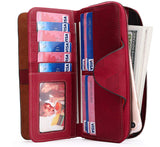 Women's RFID Blocking Tri-fold Leather Wallet Zipper Ladies Clutch Purse
