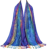 Colorful flowers Jacquard cotton pashmina Women Wrap Shawl tassels Scarves