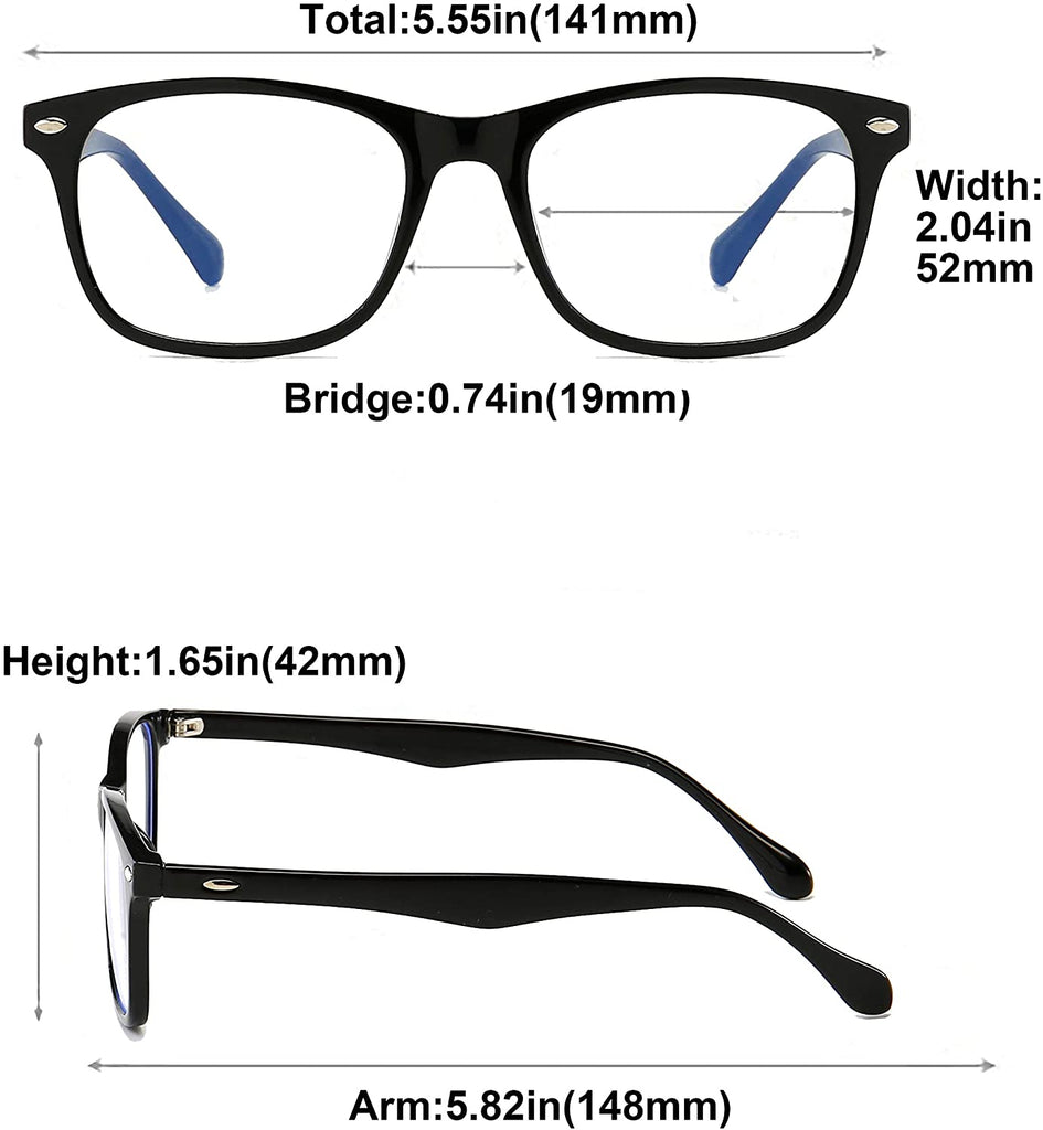 Blue Light Blocking Glasses Women/Men for Computer Use, Lightweight Anti Eyestrain Gaming Glasses(2Pack)