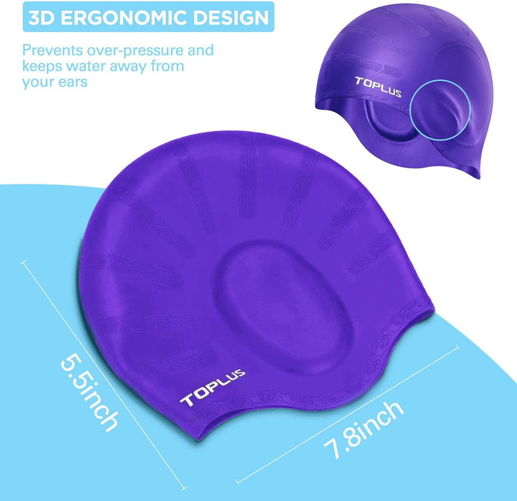 Swim Cap, Durable Silicone Swimming Cap Cover Ears, 3D Ergonomic Design Swimming Caps for Women Kids Men Adults Boys Girls