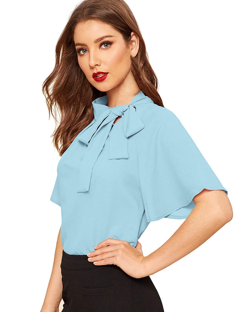 Women's Casual Side Bow Tie Neck Short Sleeve Blouse Shirt Top