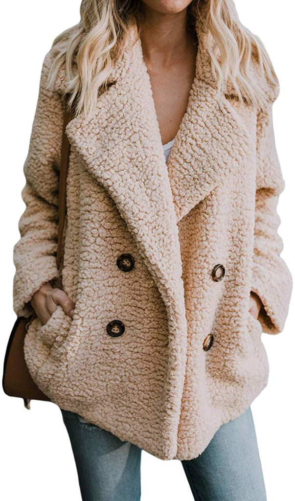 Womens Fleece Open Front Coat with Pockets Outerwear