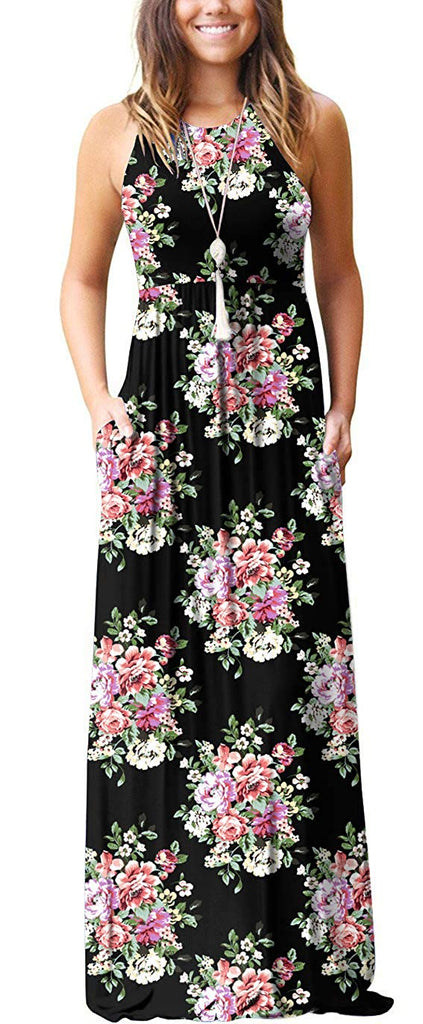 GRECERELLE Women's Summer Floral Print Casual Long Dresses with Pockets