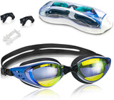Swim Goggles, Anti Fog Swimming Goggles Crystal Clear 180° Panoramic Vision Mirrored with 100% UV Protective Coating