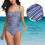 Deep v Lace up Vintage Striped Nip Tuck Swimwear Bathing Suit Tummy Control Swimsuits