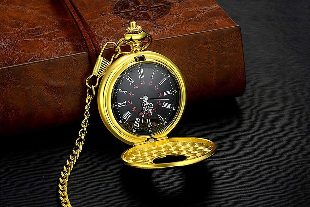 Black Pocket Watch Roman Pattern Steampunk Retro Vintage Quartz Roman Numerals Pocket Watch for Xmas Fathers Day Gift