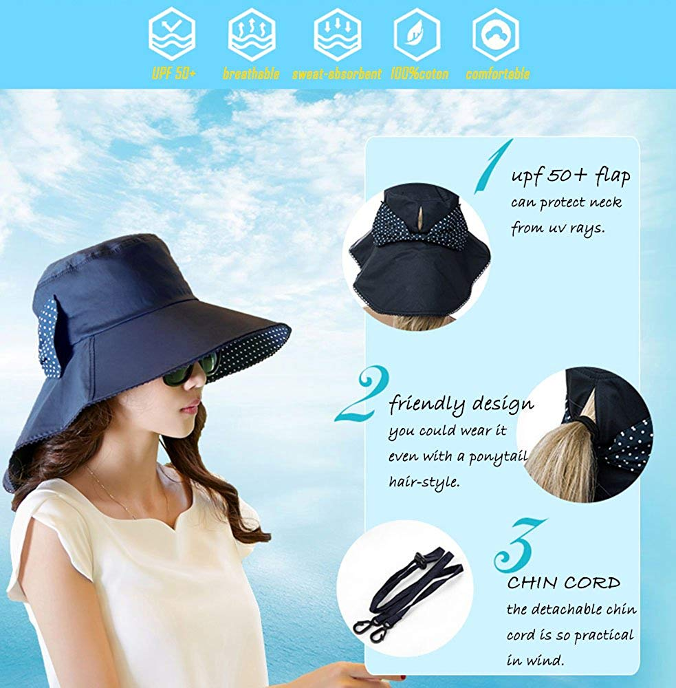 Protection Sun Hats Packable Summer Hat Women w/Ponytail Chin Strap 55-61CM