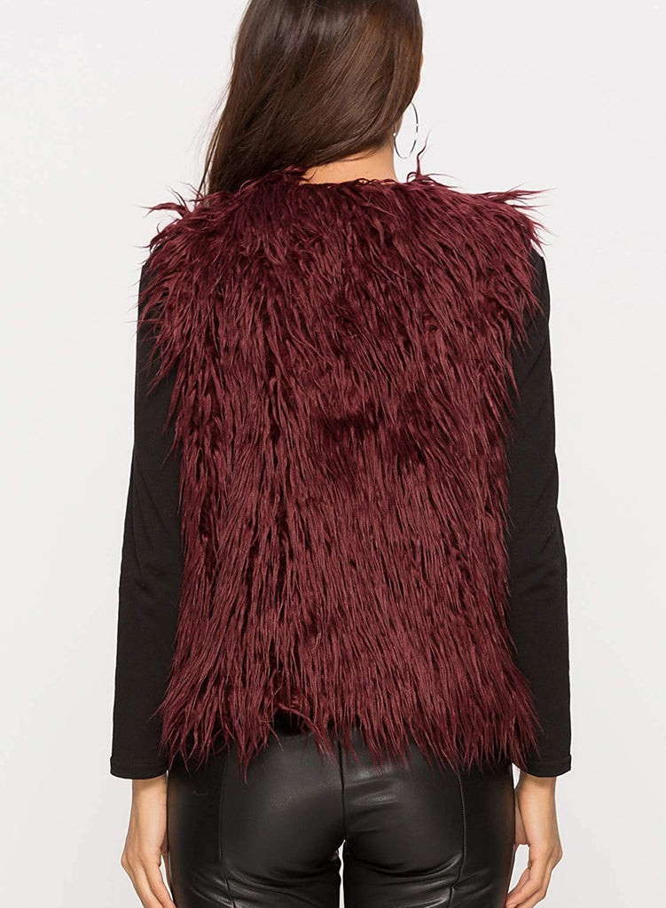Women's Faux Fur Vest Warm Sleeveless Waistcoat Autumn and Winter Outwear Jacket