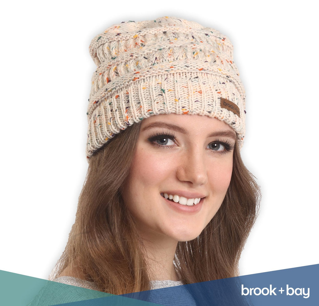 Cable Knit Beanie for Women - Thick, Chunky & Soft Stretch Knitted Caps for Cold Weather