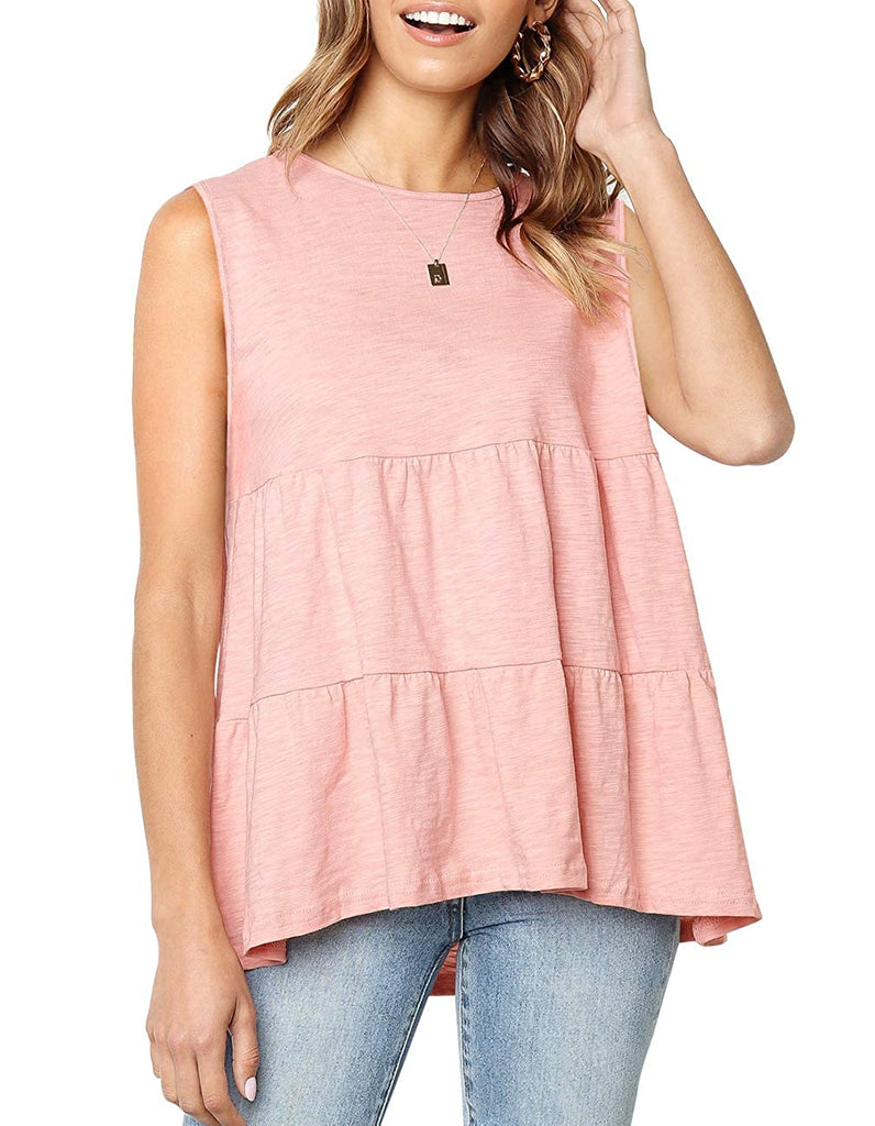 Summer Short Sleeve Loose T Shirt High Low Hem Babydoll Peplum Tops