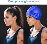 Unisex Swimming Cap, Durable Silicone Swim Cap Cover Ears, 3D Ergonomic Design Swimming Cap
