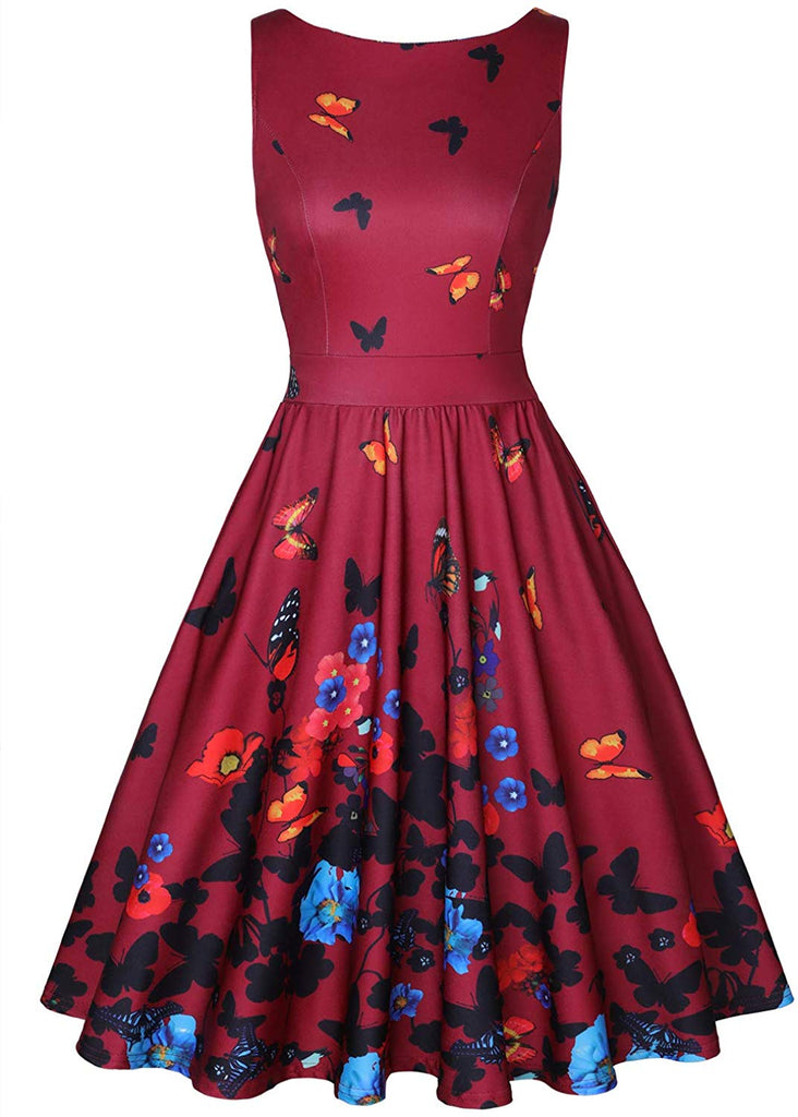 Womens Vintage 1950's Sleeveless Floral Rockabilly Garden Party Dress
