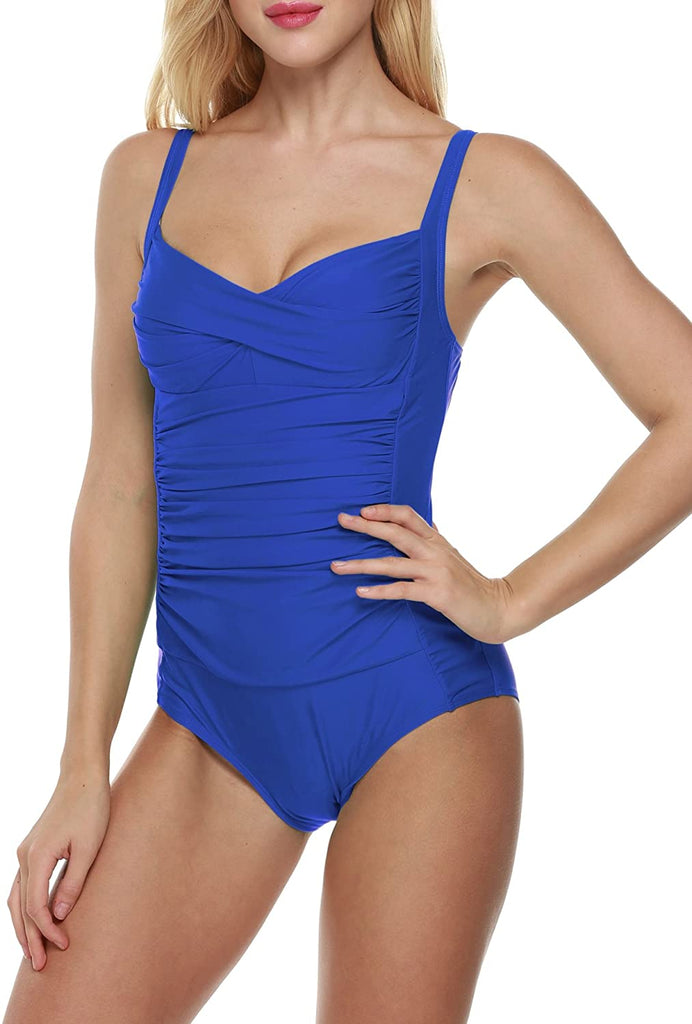 Elegant Inspired Vintage Pin up Monokinis Tummy Control Swimwear Shirred Bathing Suits Womens One Piece Swimsuit