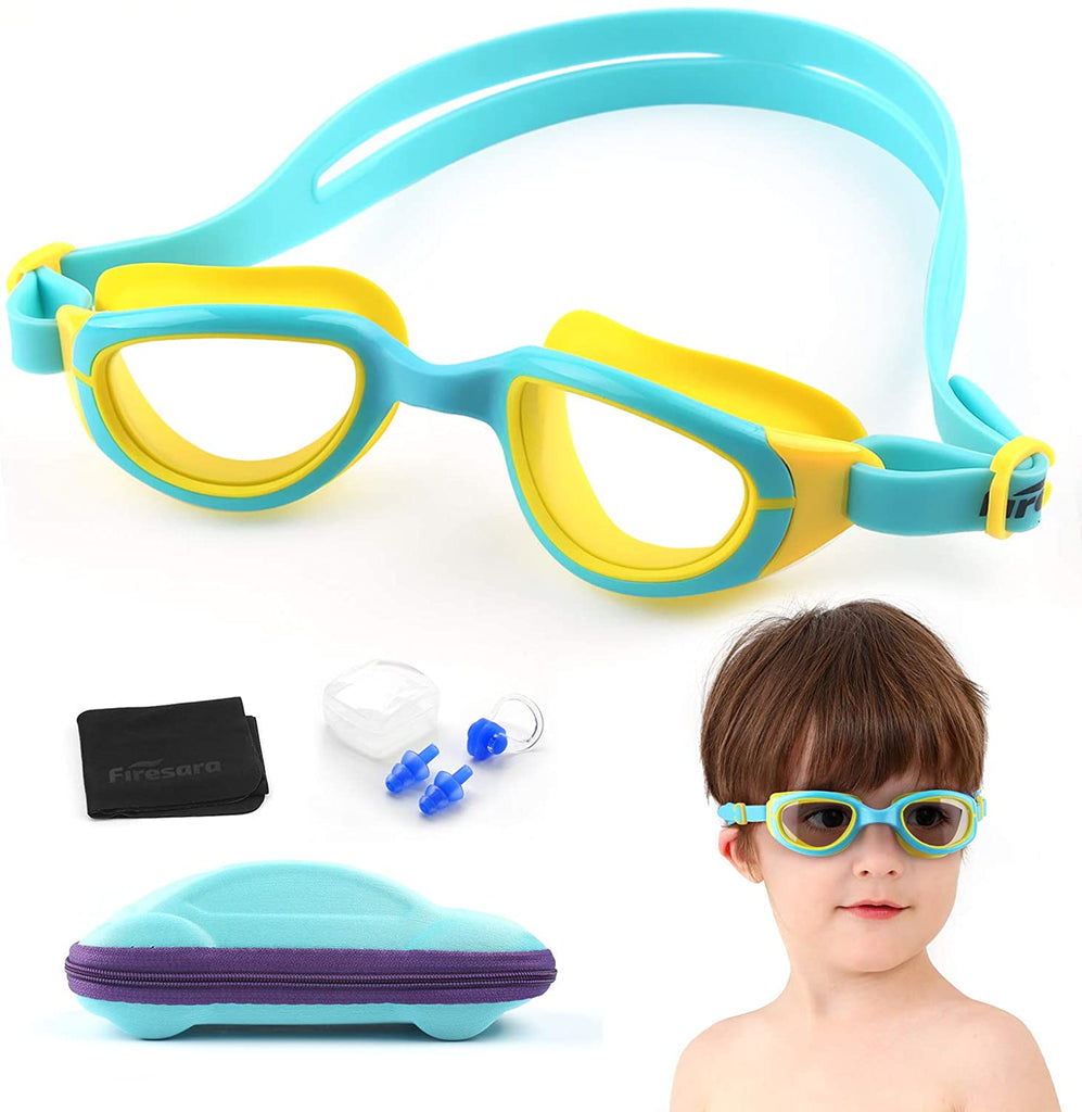 Firesara Kids Swimming Goggles for Boys and Girls- Adjustable Straps, Silicone Eye Seal, Leak proof UV Protection